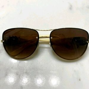 AUTH BVLGARI CREAM BLACK LOGO AVIATORS SUNGLASSES
